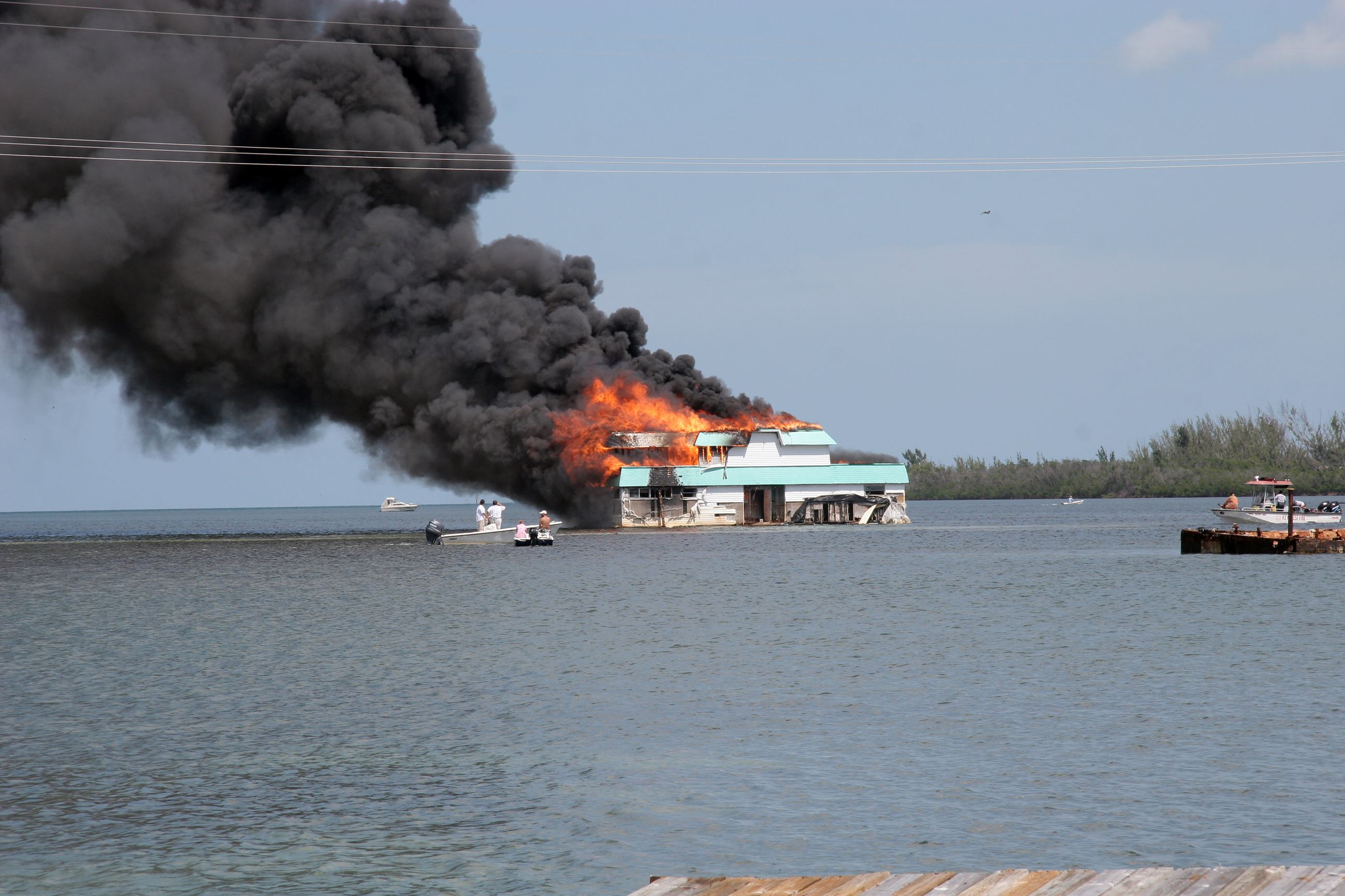 A House Boat on Fire off of Hilton Haven
