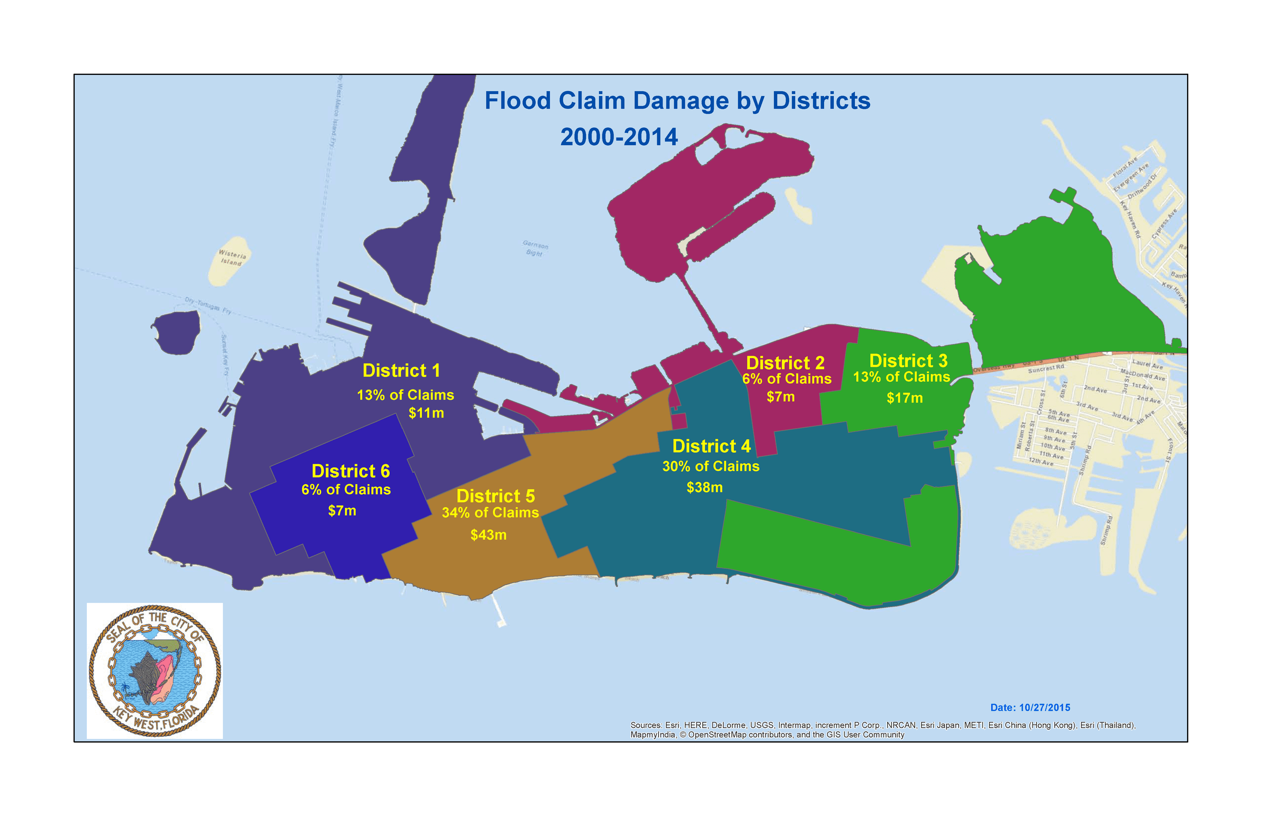 Flood Claim Damage by Districts Map