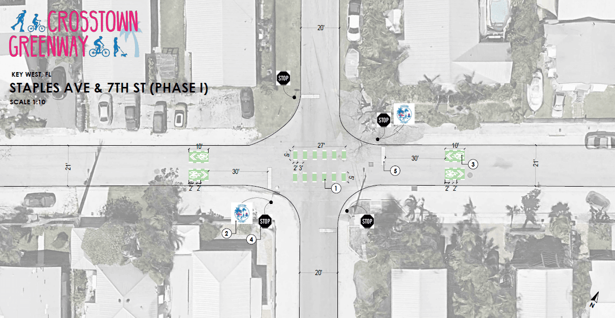Street intersection with lane markings and a crosswalk for bicycles