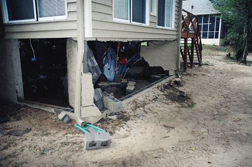 collapsed foundation walls