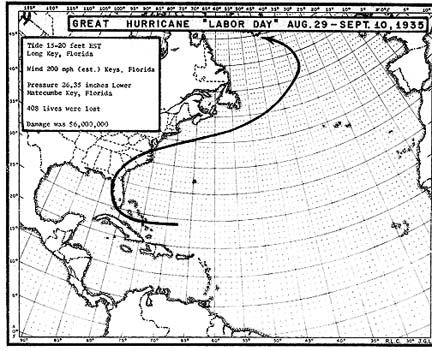 08-29-1935 to 09-10-1935 Great Hurricane Map Projection