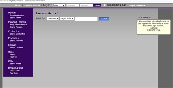 Search screen for program