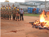 Fire Academy Students extinguish annual bonfire