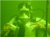 Diver with tools underwater
