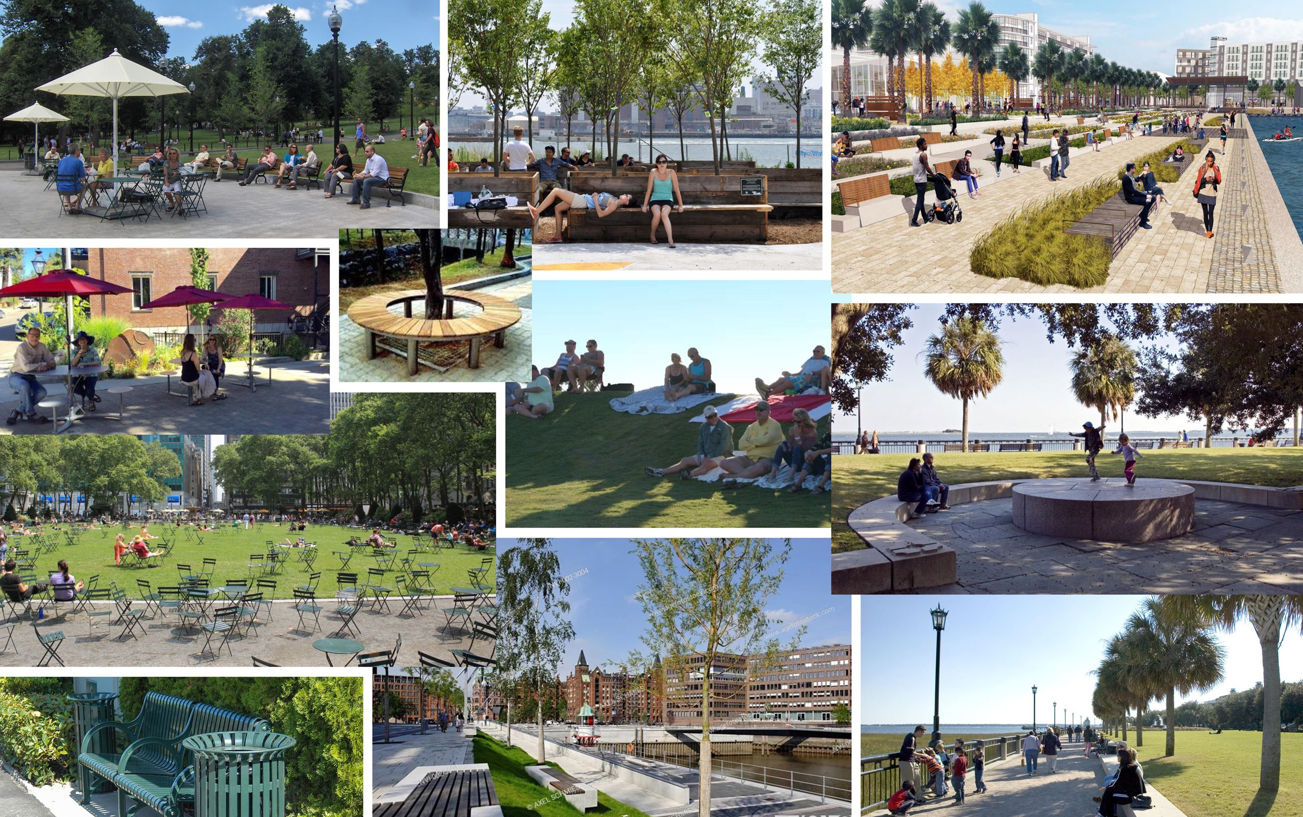 collage of seating options for public places