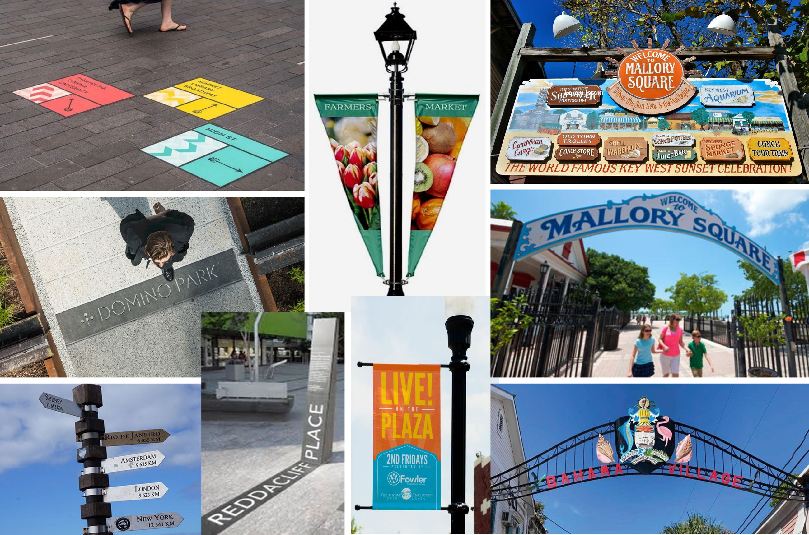 collage of sign options for public places